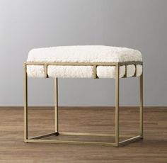 RH Baby & Child's Kellen Sherpa Stool - Antiqued Brass:Our stool's…