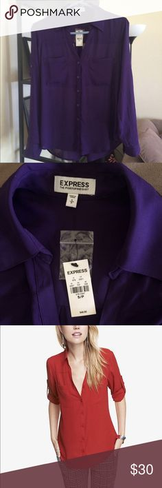 NWT Express Portofino Shirt Portofini Shirt 🔹 Express  🔹NWT / never worn!  🔹Buttons up the front 🔹Wear sleeves long or rolled 🔹Front Pockets  🔹Slight hi-low  🔹Great with a pair of jeans or to wear to work with nice pants!  🔹Beautiful rich plum color 💙 Make an offer! 💙 Express Tops Button Down Shirts