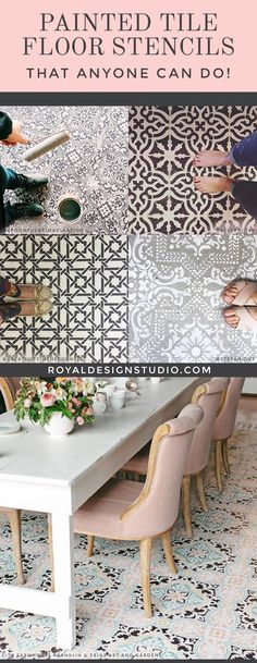 Painted Floor Tiles Have Become a Popular Way to Restore or Update Old Tiles Painted Tile Floor Stencils that Anyone Can Do! 16 DIY Decorating Ideas for Floor Remodeling - Royal Design Studio Tile Stencils and Floor Stencils Painting Tile Floors, Painted Floors, Paint Tiles, Machuca Tiles, Diy Tiles, Tiled Floors, Room Tiles, Diy Flooring, Kitchen Flooring