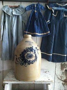 *Beautiful Stoneware Jug and Sweet Dresses Antique Crocks, Old Crocks, Antique Stoneware, Stoneware Crocks, Primitive Antiques, Country Primitive, Primitive Decor, Country Blue, Country Decor