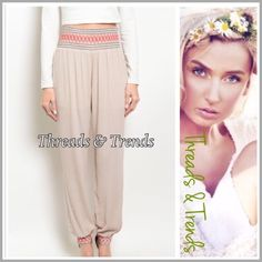 """Sabrina Genie Pants Stylish taupe genie pants featuring black & red stitching detail waistline and cuffed ankles. Made of rayon and lined. Pastel Size S/M.                  super stretchy & soft wide band elastic                 S/M waist 24"""" to 34""""  Rise 13"""" Hips 40""""  Inseam 31"""" chiffon Threads & Trends Pants Track Pants & Joggers"""