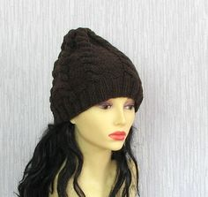 Hand knitted ladies slouchy beanie Brown Hat  by AlbadoFashion