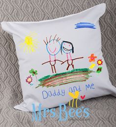 Father's Day 'Daddy and Me' Cushion personalised with your child's drawing by MrsBeesEmporium Diy Father's Day Gifts, Father's Day Diy, Gifts For Dad, Diy For Kids, Crafts For Kids, Happy Children's Day, Memory Pillows, Kids Artwork, Fathers Day Crafts