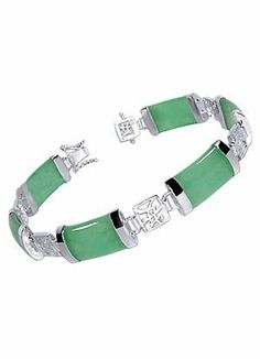 Sterling Silver 10mm Green Jade Gemstone 7.5 inch Bracelet With Secure Latch Clasp - Fashion Jewelry