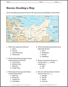 Reading Worksheets | Russian Geography Map Reading Worksheet