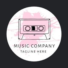 A creative template for a music logo. A dark background with an illustration of a cd. Black text also shows 'music company' with an option to add a company tagline. Music Logo, Dark Backgrounds, Music Bands, Logo Templates, Logos, Creative, Illustration, Black, Design