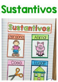 Ideas para enseñar acerca de los sustantivos en la clase de español. Recursos gratis para primer grado y segundo grado.