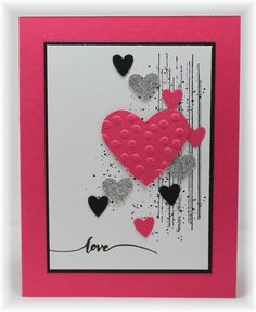 Some grunge in bkgrd, punched hearts on top. Scrappin' and Stampin' in GJ