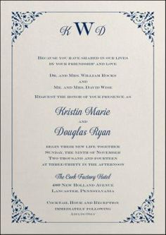 Kristin and Douglas's wedding invitation   Let us create your #weddinginvitation. Call Beth today to set up your free consultation at (516) 721-2635 Awarded the 2013, 2012, 2011 & 2010 Carlson Craft Excellence  Award http://foreverfriendsfinestationeryandfavors.com