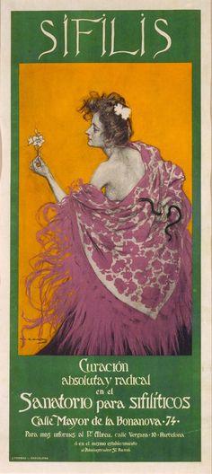 Ramon Casas Carbó (1866-1932). Cartell para la curación de la Sífilis.