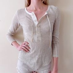 Free People Heirloom Desert Rider Henley In very good-used condition. Size x-small, the model in the photo typically wears small/X-small and wears a size 32A in bras. Has some minor signs of wear in the material as shown in the 3rd photo. Made from linen and polyester. Sold out everywhere else online! Smoke/pet free home. Ask all questions before buying 💓 ❌NO trades❌ Bundle for a discount 🎉 Free People Tops Blouses