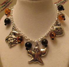 Halloween Charm and Bead Bracelet by GlorysCloset on Etsy