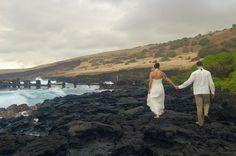 lava rock walk Hawaii Wedding