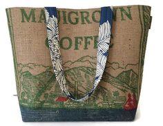 79d010514c3 Maui Tote Handbag. Repurposed Mauigrown Coffee Burlap Coffee Bags, Coffee