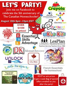 The Canadian Homeschooler is turning 5! Join me at my Facebook Party to Celebrate.