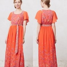 Dramatic Blushed Paisley Maeve Coral Maxi Dress stunning Maeve maxi dress with built in cape! worn 1x. waist measured at the seam is approx 13.5-14 inches laying flat. it is the only part of the garment where there is no give. the rest of the dress is open throughout due to the cape feature covering the open back (Google for more pics!!) so if the waist will fit you, you'll be fine!! ⭐️NO TRADES⭐️ Anthropologie Dresses Maxi