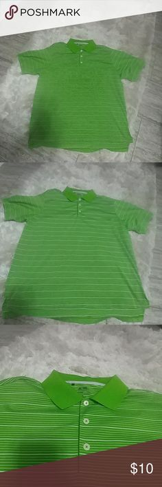 """Men's Adidas Golf Polo EUC. I bought this for my husband on vacation and he has only worn it 1 time.  Lime green and white stripes  Adidas  Golf Shirt- """"Adidas Climalite"""" fabric (Dri- Fit)  3 buttons in front  Please feel free to ask any questions!  BUNDLE & SAVE  10% off 2 items or more!! Shipping discounts available as well! adidas Shirts Polos"""