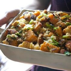 Cornbread Stuffing with Brussels Sprouts & Squash Recipe-- Brussels sprouts and winter squash make this cornbread stuffing look and taste great. You may need to bake two batches of cornbread to have 2 pounds for this recipe—you can even make it the day before. #thanksgiving