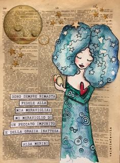 Alda Merini, poesie. Book Page Art, Book Art, Altered Books Pages, Bible Art, Colorful Drawings, Paper Dolls, Fairy Tales, Illustration Art, Scrapbook