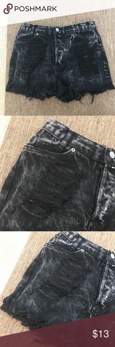 Brandy Melville Dark Grey Distressed Denim Shorts Got it from Brandy Melville in San Diego a couple years back. Definitely sold out in stores. Super distressed details on the front and back of Shorts. Dark grey/black with acid wash details too. Brandy Melville Shorts Jean Shorts
