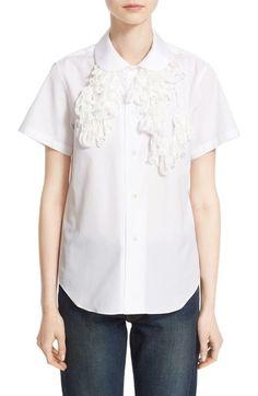 Comme des Garçons Chenille Trim Short Sleeve Blouse available at #Nordstrom
