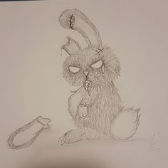 Zombie Bunny, Art, Graphite, Drawing S, Photo Illustration, Art Background, Kunst, Performing Arts