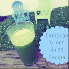 Everyday Green Juice - 1 apple, 1 cucumber, 4-5 stalks of celery, 1/2 bag of spinach or bunch of kale, ginger root to taste