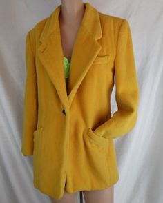 Vintage Evan Picone Yellow 100% #Merino Wool short #Coat Jacket warm winter sheep #EvanPicone