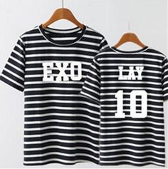 EXO EXO-M Korean Boy Band Lay Zhang Yixing 10 Streetwear Horizontal Stripe T-shirt  #EXO #EXO-M #Korean #Boy #Band #Lay #Zhang #Yixing #10 #Streetwear #Horizontal #Stripe #Tshirt #Kidolstuff