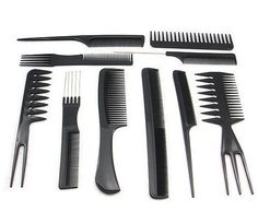 10 Pcs Hair Styling Comb Set Professional Hairdressing Brush Salon Barbers Kit -- This is an Amazon Affiliate link. Click image for more details.