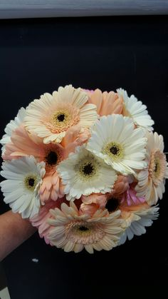 peach and cream gerbera bridal bouquet