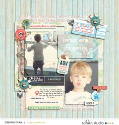 ADVENTURE Travel Digital Scrapbooking layout using Photo Journal No 3 | Templates & Stamps collection  by Sahlin Studio