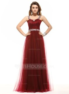 A-Line/Princess Scoop Neck Floor-Length Tulle Evening Dress With Ruffle Beading (017016052) - JJsHouse