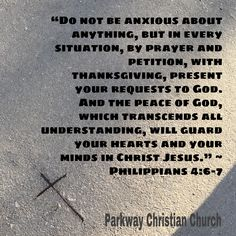"""Do not be #anxious about anything, but in every situation, by #prayer and petition, with thanksgiving, present your requests to #God.  And the #peace  of God, which transcends all understanding, will guard your hearts and your minds in #Christ #Jesus."" ~ Philippians 4:6-7 Philippians 4 6 7, Peace Of God, Guard Your Heart, Finding God, Christian Church, Anxious, Jesus Christ, Prayers, Thanksgiving"