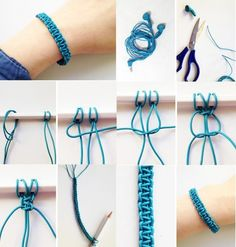 Comment fabriquer un bracelet macramé en scoubidou ? Macrame Bracelet Diy, Bracelet Fil, Bracelet Crafts, Bracelet Making, Jewelry Crafts, Handmade Jewelry, Jewelry Making, Macrame Knots, Macrame Earrings