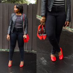 Leather jacket and skinny jeans | linge shoes
