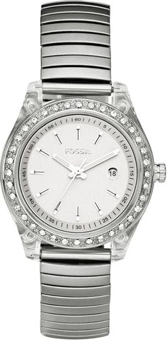 Fossil Women's ES2906 Stainless Steel band expands to the perfect fit Stainless Steel Case Crystal Bezel Silver Dial Watch