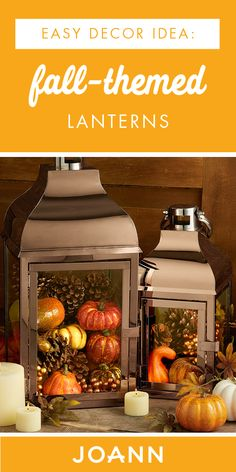 fall home decor Ready for fall Check out these Fall-Themed Lanterns from JOANN to see how you can make your very own, autumnal decoration. Featuring pinecones and mini pumpkins, this craft project has it all. Fall Lanterns, Lanterns Decor, Fall Lantern Centerpieces, Harvest Decorations, Fireplace Decorations, Thanksgiving Centerpieces, Autumn Decorating, Fall Projects, Fall Table