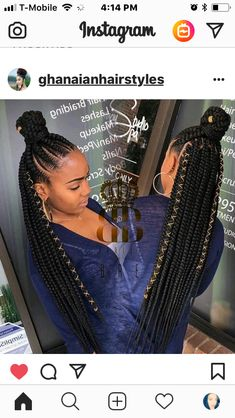 All styles of box braids to sublimate her hair afro On long box braids, everything is allowed! For fans of all kinds of buns, Afro braids in XXL bun bun work as well as the low glamorous bun Zoe Kravitz. Braided Hairstyles For Black Women, African Braids Hairstyles, Ponytail Hairstyles, Weave Hairstyles, Black Girls Hairstyles, Short Hairstyles, Teenage Hairstyles, Scene Hairstyles, Ethnic Hairstyles