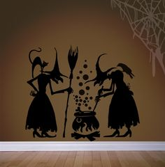 Witches Brew Wall Decals Stickers Scary Décor Halloween Party Inches Message for Size Made in USA Halloween Painting, Halloween Cat, Holidays Halloween, Happy Halloween, Halloween Witches, Scary Decorations, Diy Halloween Decorations, Halloween Window Silhouettes, Witch Silhouette