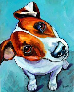 Jack Russell Painting - Jack Russell Looking Up by Dottie Dracos