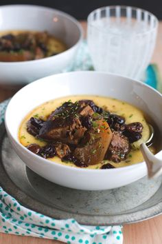 Slow Cooker Hard Cider Braised Pork with Sour Cherries and Cheesy Polenta from @cindyr