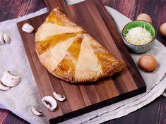 pâte feuilletée, jambon blanc, champignon, bûche de chèvre, oeuf