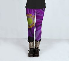 Purple yellow yoga leggings subliminated printed photographic macro Size S-L by ParadoxYoga on Etsy