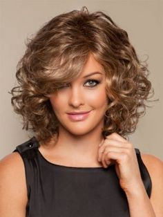 Curly Shoulder Length Hairstyles for Round Faces