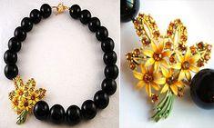"modern vintage repurposed jewelry by Irene Jung - ""Midnight Fling"""
