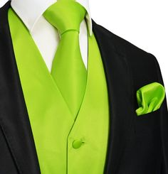 Solid Full Back Tuxedo Vest with matching Necktie and Pocket Square in a vivid Lime Green. Includes: Vest, Necktie, Pocket Square Full-Back Tuxedo Vest Fabric: Microfiber Imported Hand Made Jacquard Woven Wedding Vest, Tuxedo Wedding, Wedding Suits, Wedding Themes, Wedding Tuxedos, Wedding Ideas, Wedding Planning, Wedding Colors, Wedding Programs