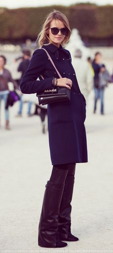 winter chic- great coat and tall black leather boots
