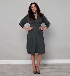 Dutchess Day Dress - Plus Size Dresses by Kiyonna // love the grey with the loose bow.