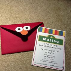 Sesame Street Birthday: Invite & Elmo Envelopes. Super easy with one inch  circle labels.